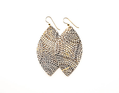 Cream and Bronze Mosaic Leather Earrings