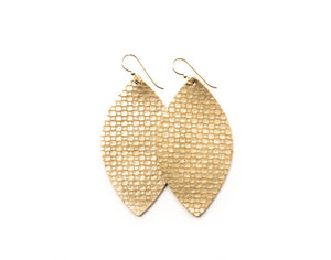 Gold Cobblestone Leather Earrings