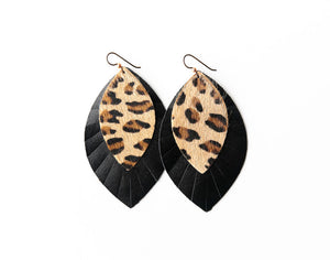Leopard with Black Fringe Base | Double Layer Leather Earring