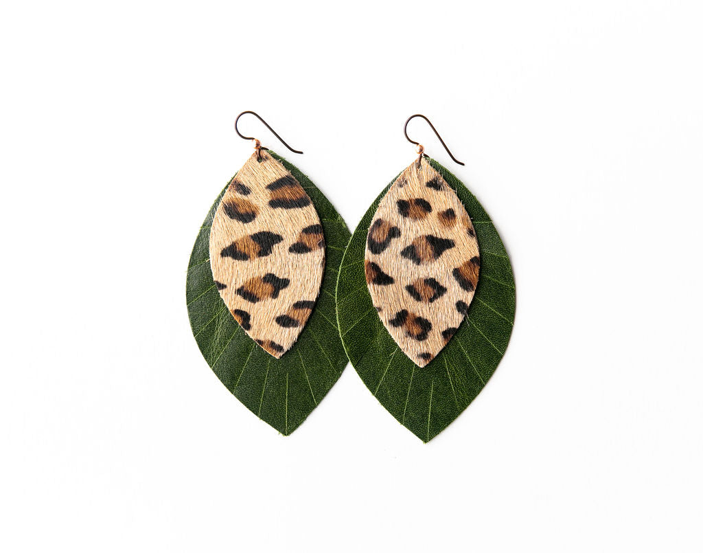 Leopard with Dark Green Fringe Base | Double Layer Leather Earring