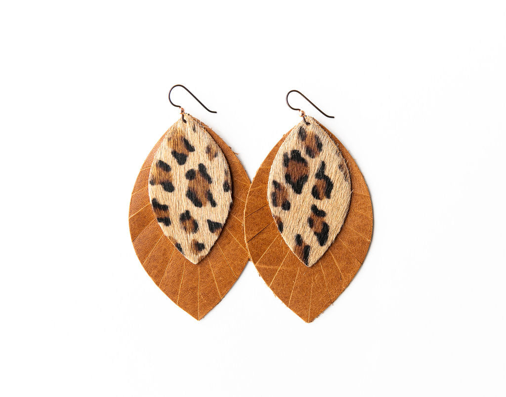 Leopard with Brown Fringe Base | Double Layer Leather Earring