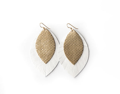 Gold Cobblestone with White Fringe Base | Double Layer Leather Earring