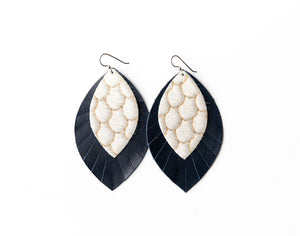 Scalloped in Cream and Taupe with Navy Fringe Base | Double Layer Leather Earring