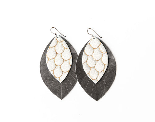 Scalloped with Cream and Taupe with Gray Fringe Base | Double Layer Leather Earring