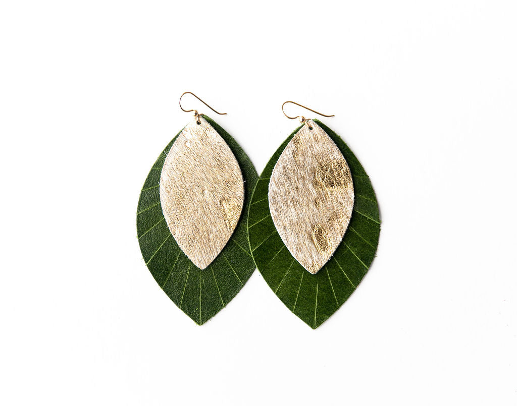 Gold Foil with Dark Green Fringe Base | Double Layer Leather Earring