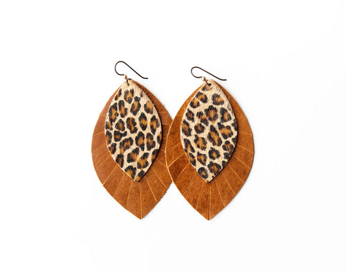 Cheetah with Brown Fringe Base | Double Layer Leather Earring