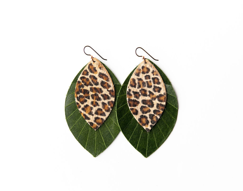 Cheetah with Dark Green Fringe Base | Double Layer Leather Earring