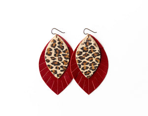 Cheetah with Red Fringe Base | Double Layer Leather Earring
