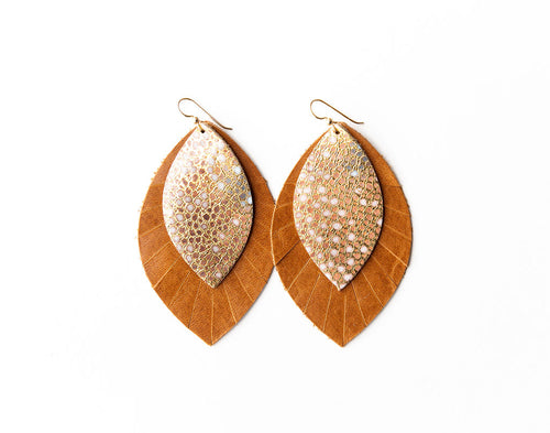Gold with Blue Speckled with Brown Fringe Base | Double Layer Leather Earring