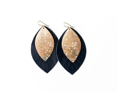 Gold with Blue Speckled with Navy Fringe Base | Double Layer Leather Earring
