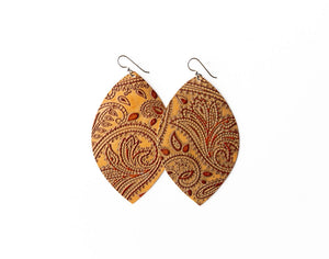 Carved Brown Leather Earrings