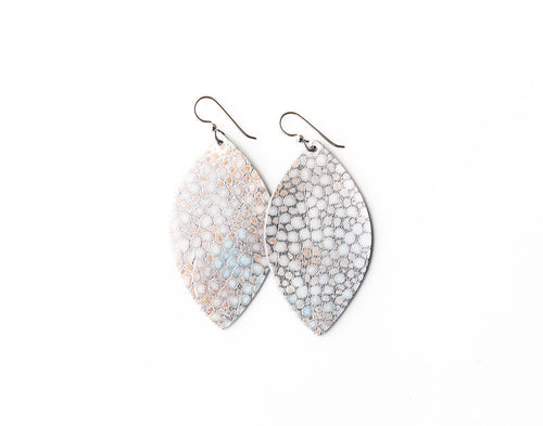 Silver Metallic Speckled Leather Earrings