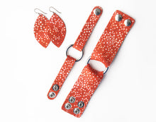 Load image into Gallery viewer, Coral Speckled with Navy Fringe Base | Double Layer Leather Earring