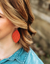 Load image into Gallery viewer, Coral Chevron Leather Earrings