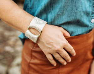 Starburst Platinum Leather Cuff