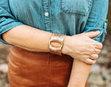 Load image into Gallery viewer, Gold with Blue Speckled Leather Cuff