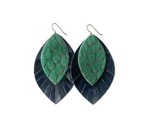 Scalloped in Green with Navy Fringe Base | Double Layer Leather Earring