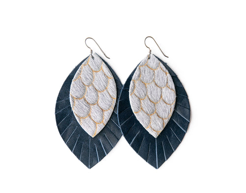 Scalloped in Gray with Navy Fringe Base | Double Layer Leather Earring