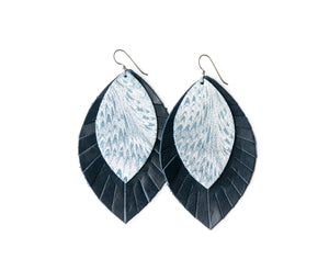 Phoenix with Navy Fringe Base | Double Layer Leather Earring