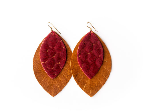 Scalloped in Red with Brown Fringe Base | Double Layer Leather Earring
