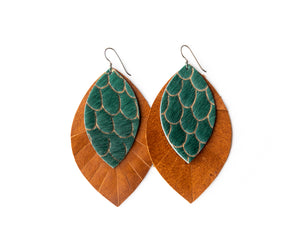 Scalloped in Green with Brown Fringe Base | Double Layer Leather Earring