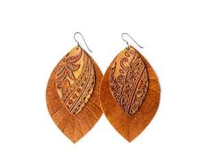 Carved Brown with Brown Fringe Base | Double Layer Leather Earring