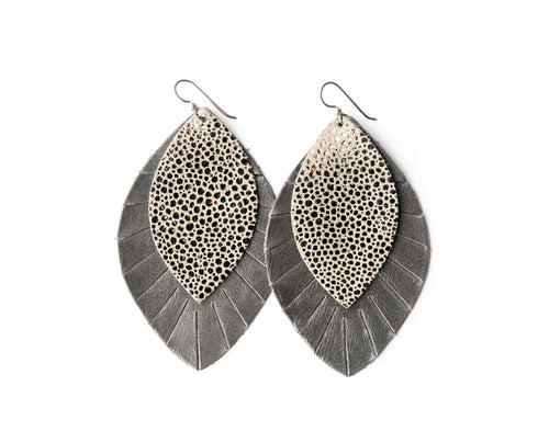 Anthracite with Gray Fringe Base | Double Layer Leather Earring