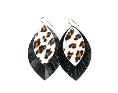 Leopard in White with Black Fringe Base | Double Layer Leather Earring