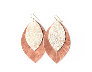 Gold and White Speckled with Blush Fringe Base | Double Layer Leather Earring