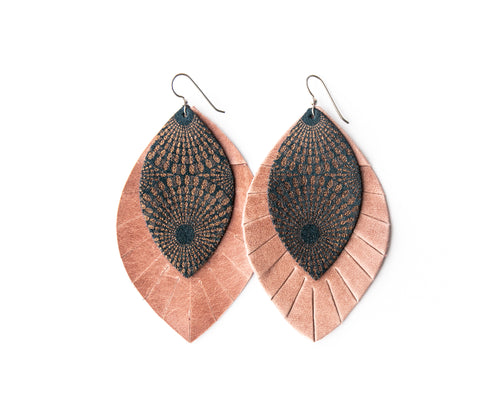Starburst Blue and Bronze with Blush Fringe Base | Double Layer Leather Earring