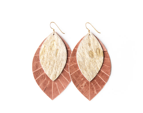 Gold Foil with Blush Fringe Base | Double Layer Leather Earring