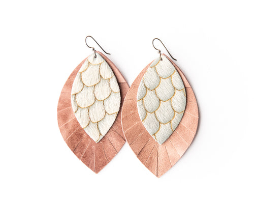 Scalloped in Taupe with Blush Fringe Base | Double Layer Leather Earring