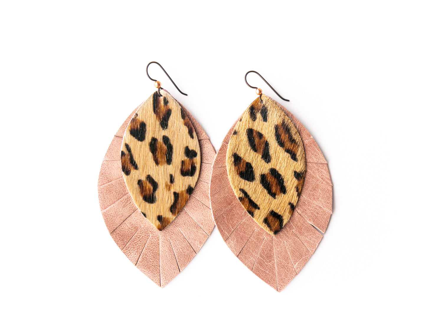 Leopard with Blush Fringe Base | Double Layer Leather Earring