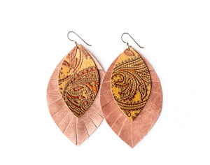 Carved Brown with Blush Fringe Base | Double Layer Leather Earring