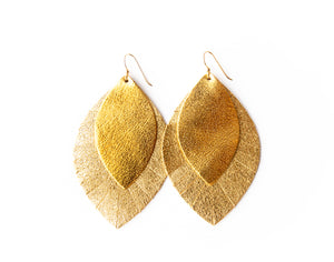 Gold with Gold Shimmer Fringe Base | Double Layer Leather Earring