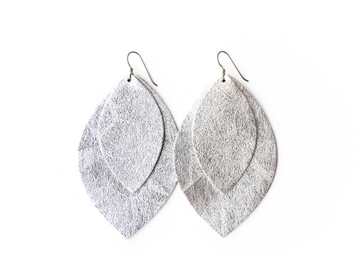 Silver with Silver Shimmer Fringe Base | Double Layer Leather Earring