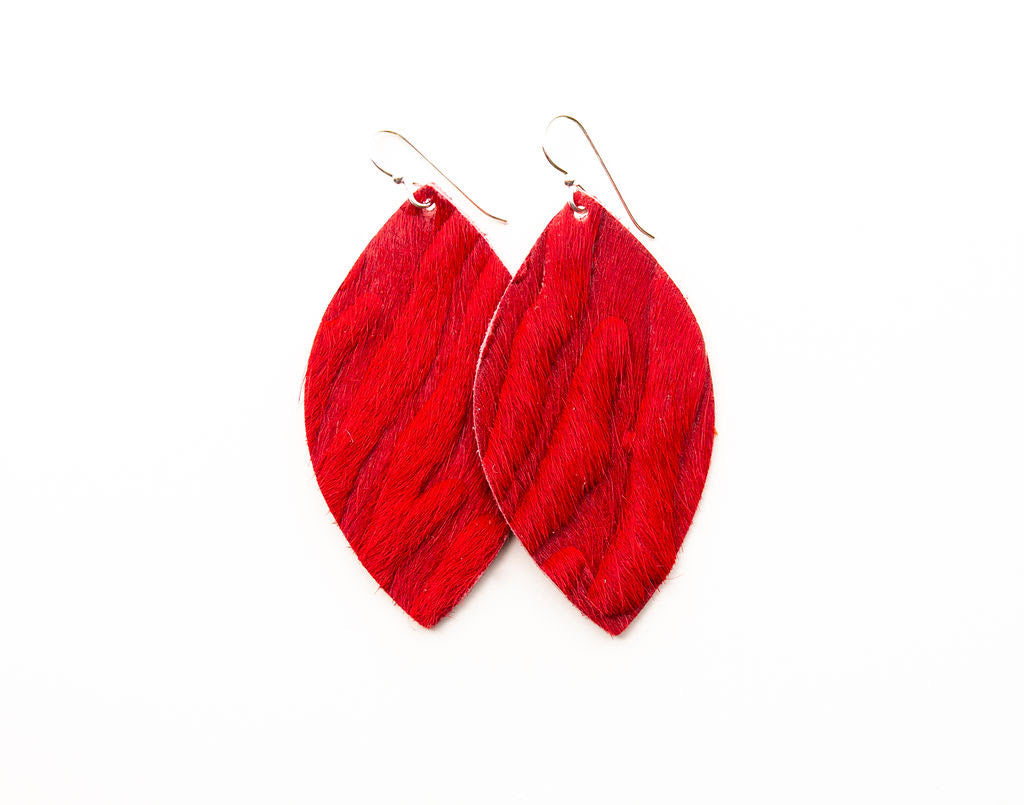 VIVA Red Leather Earrings