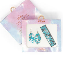 Load image into Gallery viewer, Cheetah in Turquoise KEVA Girls Earring and Wrap Bracelet Set