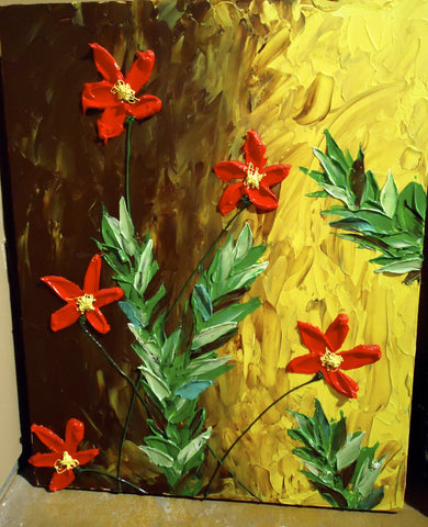 Red Flowers Stucco Wall