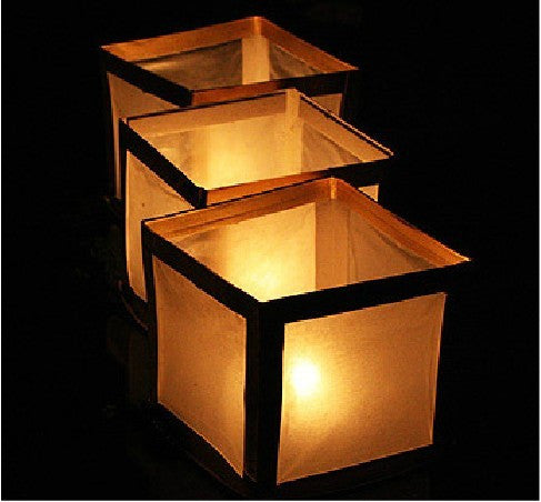 Square Floating Water Lantern -Gold Border