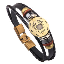 Load image into Gallery viewer, Men's Horoscope Zodiac Leather Bracelet