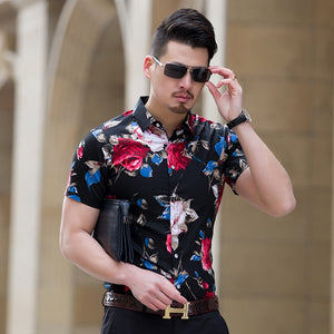 Men's Summer Floral Slim Fit Shirt