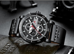 Men's Sports Waterproof Leather Watch