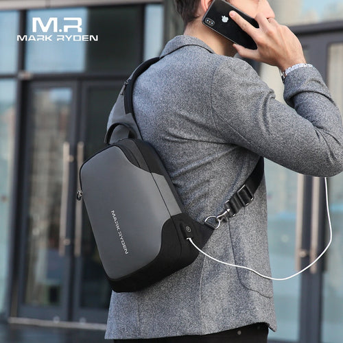 Men's Anti-thief Crossbody Bag with USB