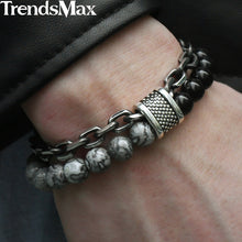 Load image into Gallery viewer, Men's Beaded Stainless Steel Bracelet