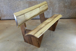 Rustic Black Walnut Finished Bench With Back Rest 10001