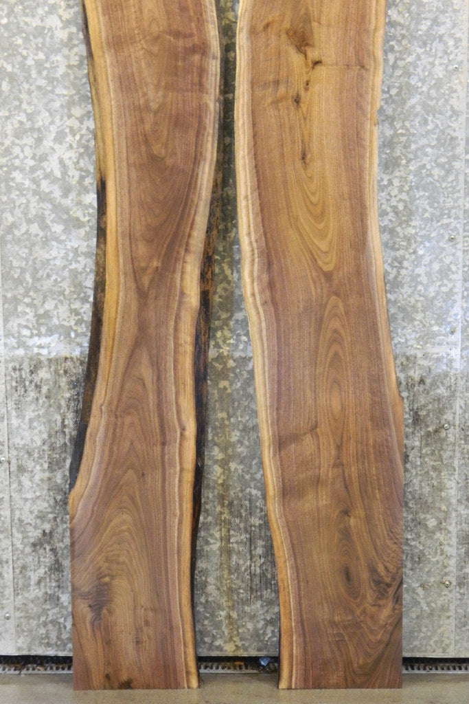 2- Natural Edge Black Walnut Rustic Pond Table Top Slabs 1142-1143
