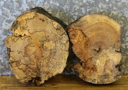 2- Circle Cut Live Edge Spalted Maple Centerpiece Wood Slabs 12330-12331