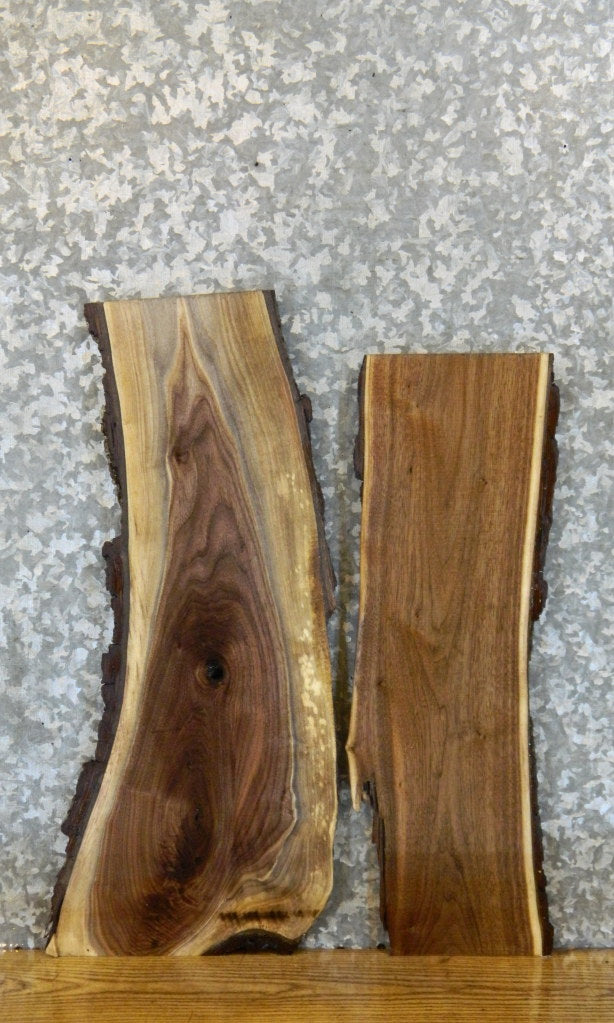 2- DIY Live Edge Bark Black Walnut Charcuterie Boards/Slabs 12917-12918