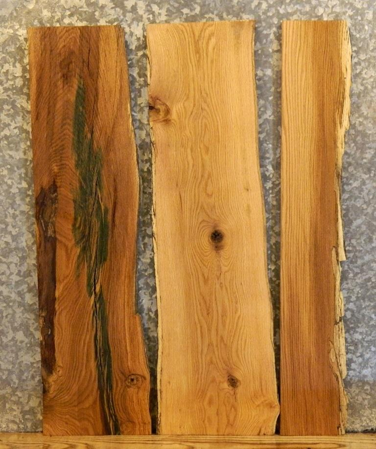 3- Partial Natural Edge Red Oak Wall/Book Shelf/End Table Top Slabs 12982,12987-12988